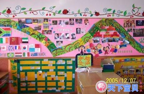幼儿园走廊装饰:可爱的蓝精灵 幼儿园外墙装饰图 幼儿园吊饰图片:蜜蜂