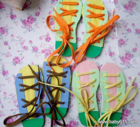 绑鞋带 - 幼儿园手工制作图片