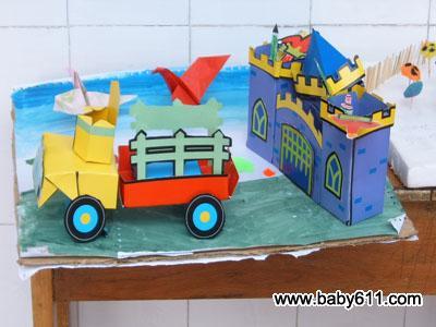 幼儿园六一幼儿手工美术作品:小汽车图片