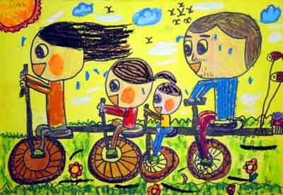 儿童简笔画自行车