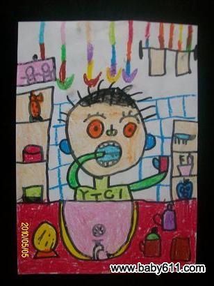 幼儿绘画作品:刷牙 - 绘画作品