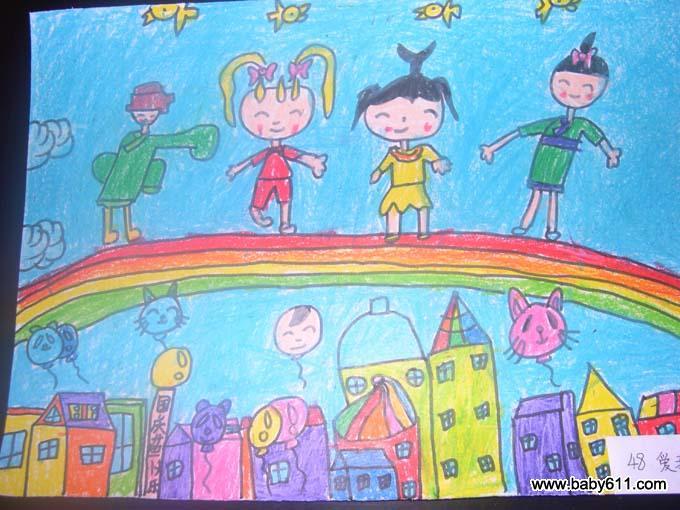 大班幼儿绘画作品:庆国庆