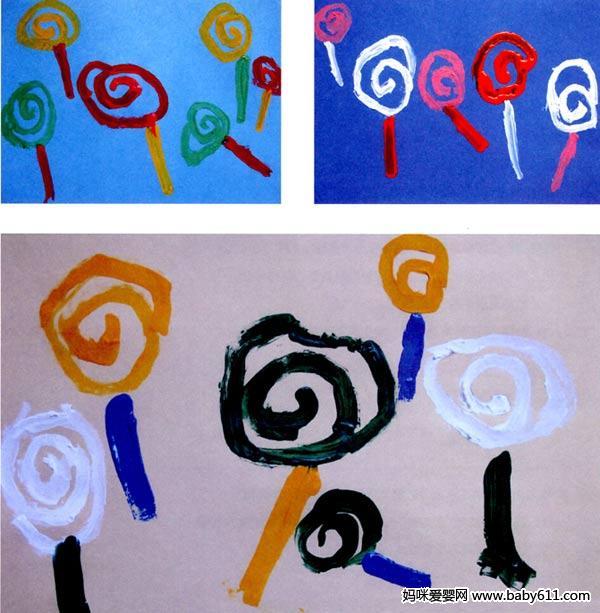 幼儿园幼儿园小班画画教案设计:好吃的棒棒糖 - 美术