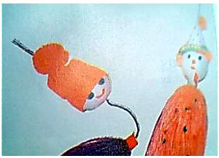 幼儿园教案大全 幼儿园中班教案 美术教案  材料:乒乓球,晴纶毛线图片