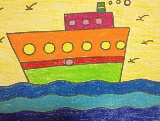 幼儿美术作品:船图片