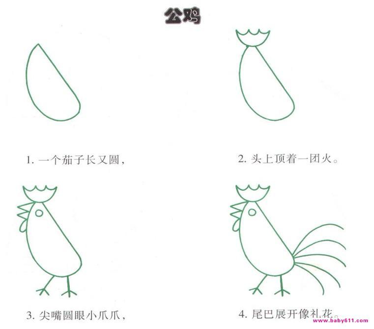 幼儿园简笔画:公鸡