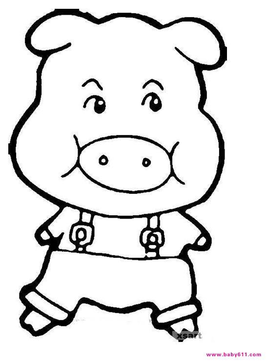 卡通小猪简笔画__; :可爱的小猪