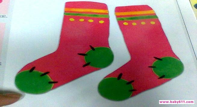 幼兒園橡皮泥手工作品《襪子》