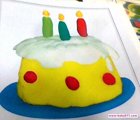 幼儿园橡皮泥手工作品《生日蛋糕》