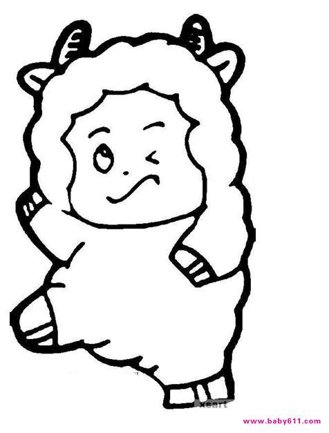 幼儿园涂色卡图片:小羊