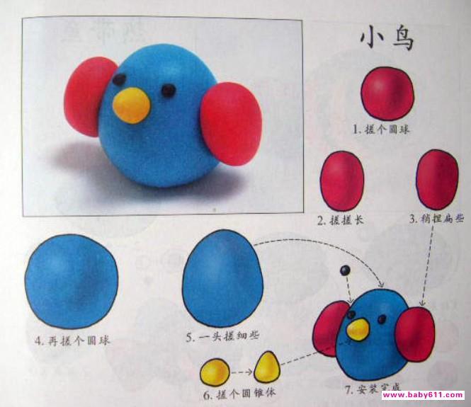 幼儿手工橡皮泥制作图解《小鸟》