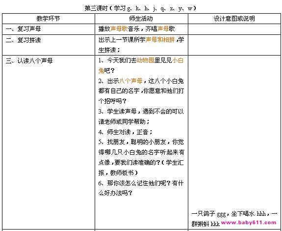幼儿园大班拼音声母教学设计教案:学会23个声母(3)