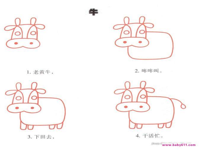 幼儿园简笔画教程:牛