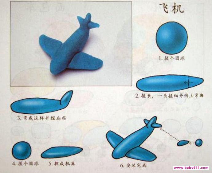 幼儿手工橡皮泥制作图解《飞机》