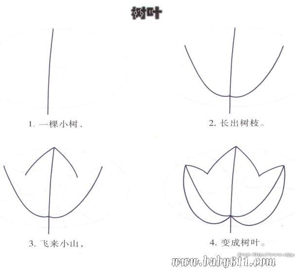 幼儿园简笔画教程:树叶