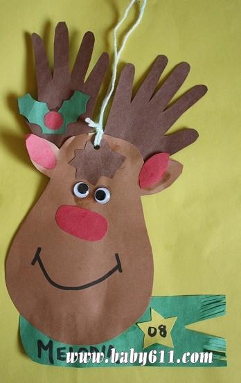 圣诞麋鹿,犄角是可爱的小手印