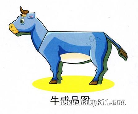儿童立体手工:牛 [彩色可下载打印]