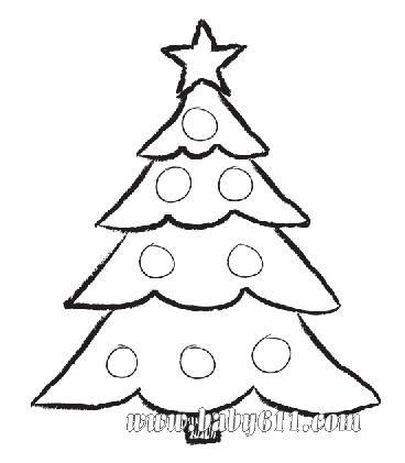 幼儿园手工技能教案; 幼儿圣诞节图画; 圣诞节涂色卡图片:圣诞树_涂色