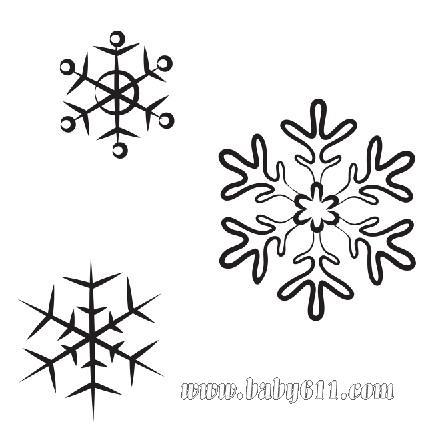 雪花:圣诞节儿童涂色卡图片素材;