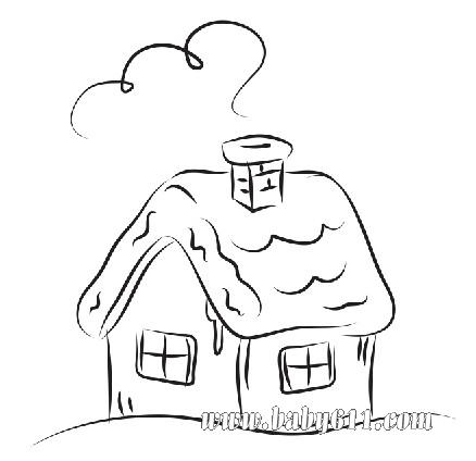 房屋 圣诞节儿童涂色卡图片素材 可做简笔画