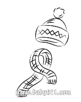 帽子围巾:圣诞节儿童涂色卡图片素材-可做简笔画