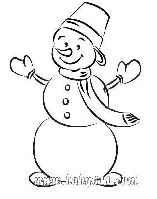 雪人:圣诞节儿童涂色卡图片素材-可做简笔画