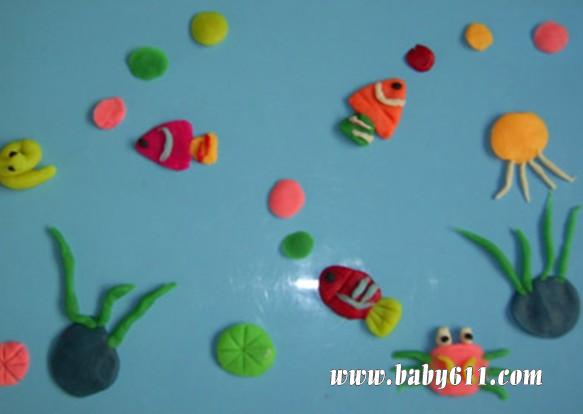 儿童橡皮泥作品:海底世界