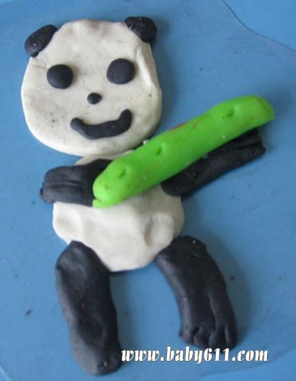 橡皮泥小熊猫;; 幼儿泥工——熊猫彩泥