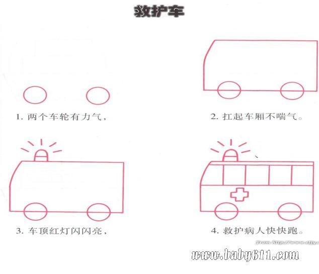 幼儿简笔画教程:救护车