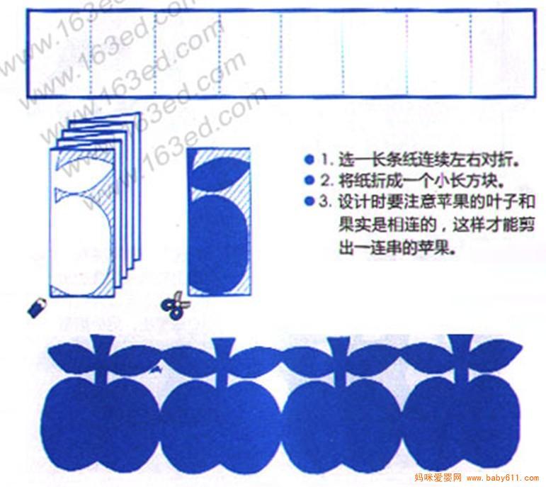 儿童手工剪纸教程:苹果花边         儿童手工剪纸教程:小鱼花边