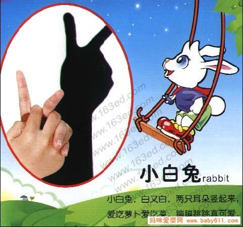 幼儿园手影游戏:小白兔