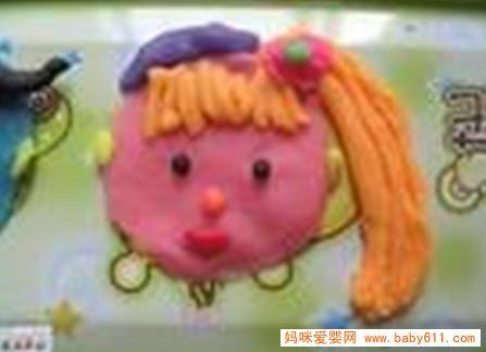 儿童橡皮泥手工作品:长头发女孩