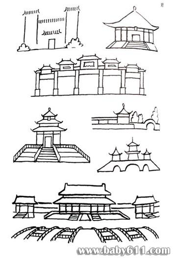 中国传统建筑简笔画的画法:宫殿,牌坊,祠堂