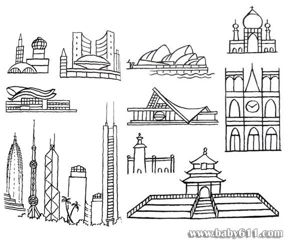 各国著名建筑简笔画; 著名建筑简笔画; 天坛简笔画