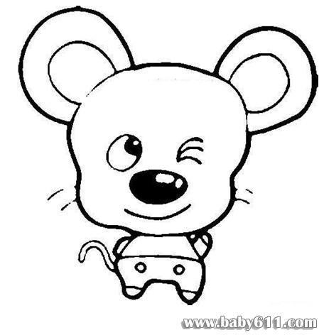 下载后可以直接打印         儿童涂色卡图片:可爱的老鼠