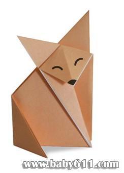 儿童手工折纸教学:狐狸