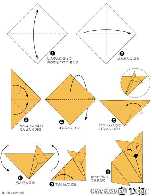 兒童手工摺紙教學:狐狸