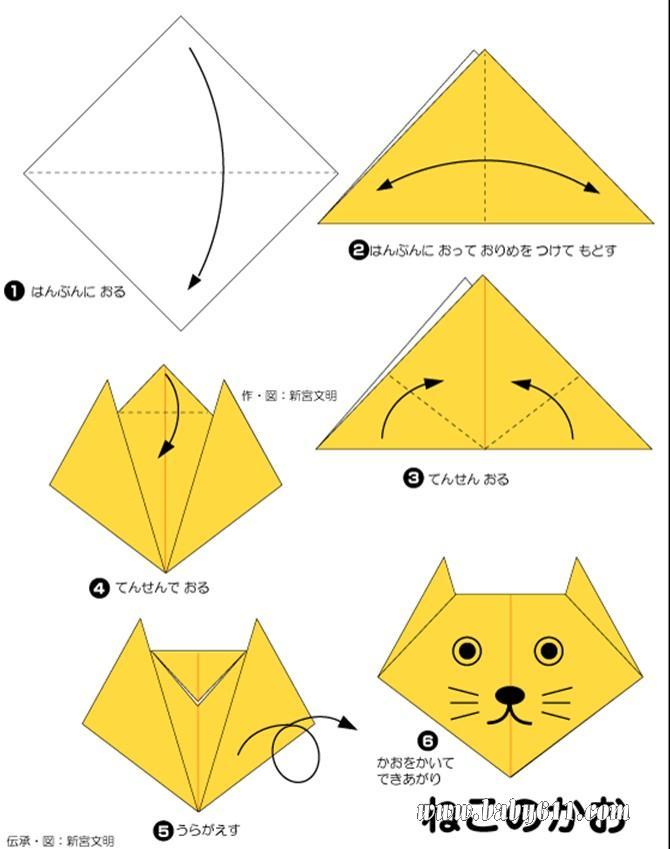 园教案大全 幼儿园手工技能教案 儿童手工折纸  儿童手工折纸:小猫