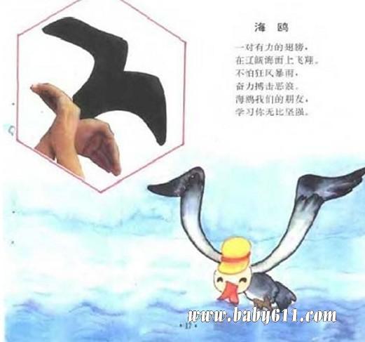 儿童手影游戏:海鸥