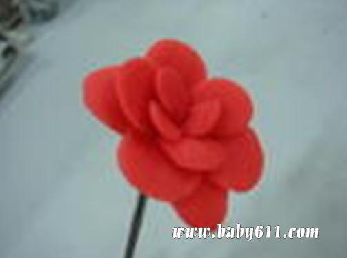 橡皮泥玫瑰制作图解; 儿童手工橡皮泥:一朵玫瑰花