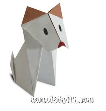 兒童手工折紙:狗狗