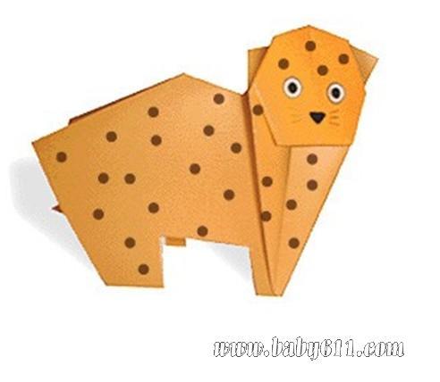 儿童手工折纸:豹子