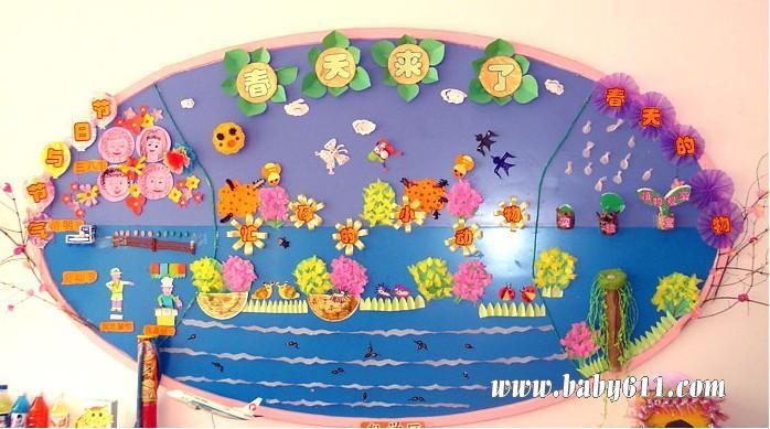 古诗天地         幼儿园春天墙体布置图片:动物联欢会