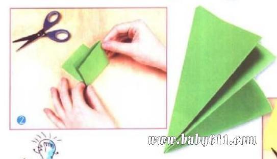 儿童剪纸教学:绿色窗花(2)