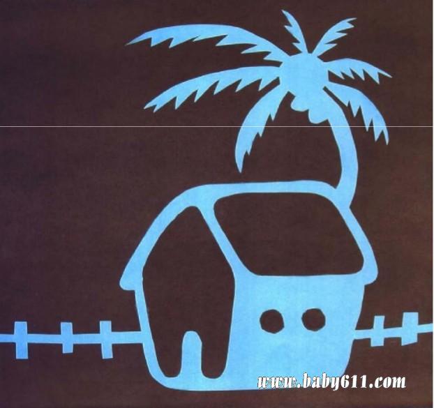 儿童剪纸教学:房子与椰树