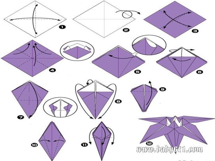 幼儿手工制作:紫色的喇叭花制作步骤