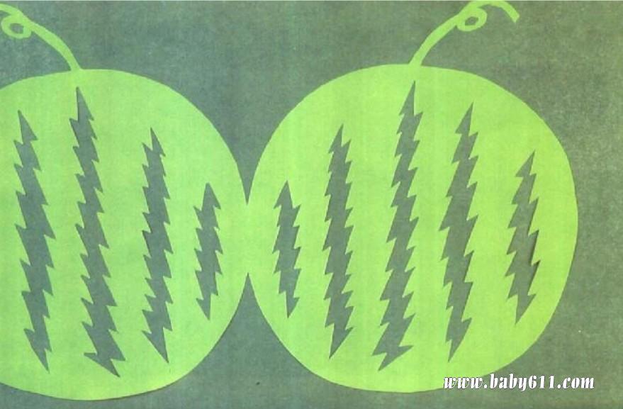 sxda童剪纸教学:大西瓜
