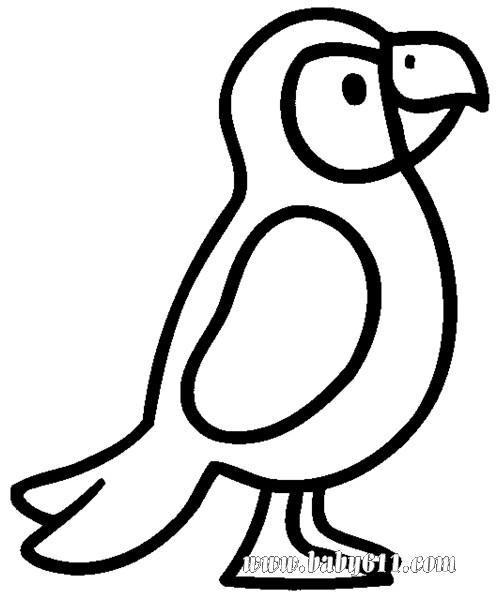 幼儿涂色卡图片:鹦鹉