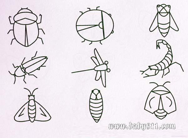 简笔画 蜻蜓等昆虫
