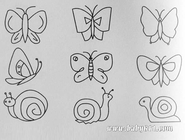 简笔画:蝴蝶 蜗牛